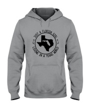 FLORIDA GIRL LIVING IN TEXAS WORLD Hooded Sweatshirt tile