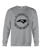 MASSACHUSETTS GIRL LIVING IN NORTH CAROLINA WORLD Crewneck Sweatshirt thumbnail