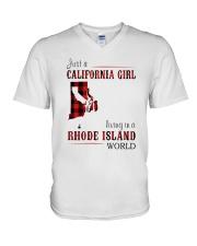 JUST A CALIFORNIA GIRL IN A RHODE ISLAND WORLD V-Neck T-Shirt thumbnail