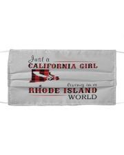 JUST A CALIFORNIA GIRL IN A RHODE ISLAND WORLD Cloth face mask thumbnail