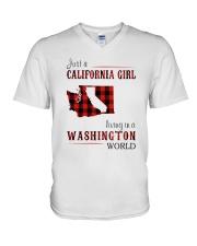 JUST A CALIFORNIA GIRL IN A WASHINGTON WORLD V-Neck T-Shirt thumbnail