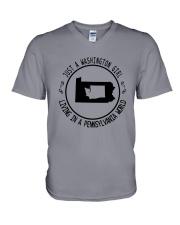 WASHINGTON GIRL LIVING IN PENNSYLVANIA WORLD V-Neck T-Shirt thumbnail