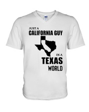 JUST A CALIFORNIA GUY IN A TEXAS WORLD V-Neck T-Shirt thumbnail