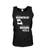 JUST A WASHINGTON GUY IN A MISSOURI WORLD Unisex Tank thumbnail