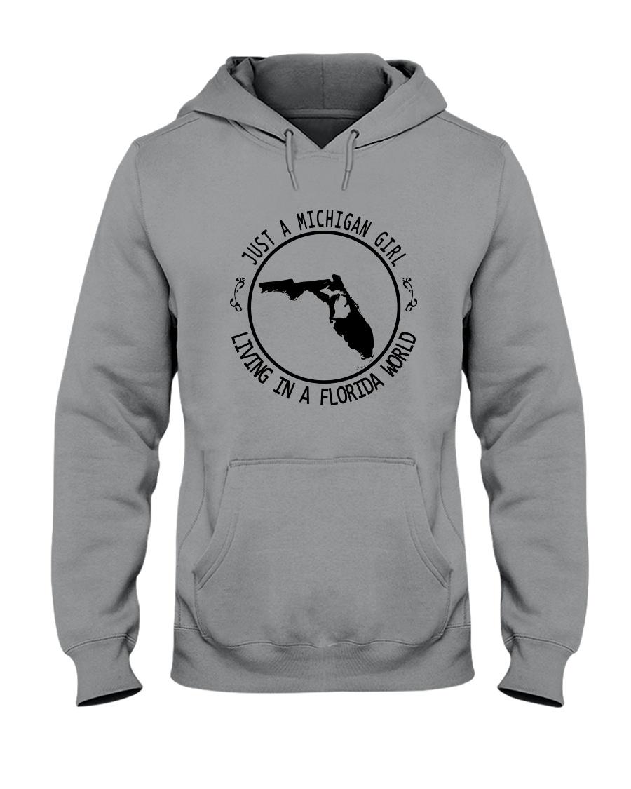 MICHIGAN GIRL LIVING IN FLORIDA WORLD Hooded Sweatshirt