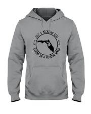MICHIGAN GIRL LIVING IN FLORIDA WORLD Hooded Sweatshirt front
