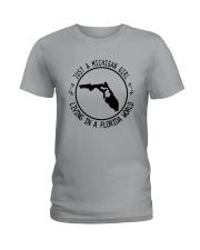 MICHIGAN GIRL LIVING IN FLORIDA WORLD Ladies T-Shirt thumbnail