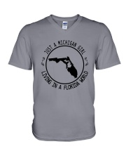 MICHIGAN GIRL LIVING IN FLORIDA WORLD V-Neck T-Shirt thumbnail
