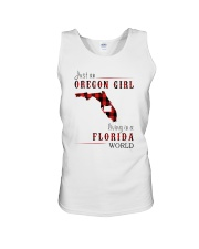 JUST AN OREGON GIRL IN A FLORIDA WORLD Unisex Tank thumbnail