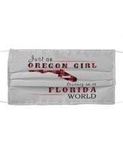 JUST AN OREGON GIRL IN A FLORIDA WORLD Cloth face mask thumbnail