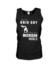 JUST AN OHIO GUY IN A MICHIGAN WORLD Unisex Tank thumbnail
