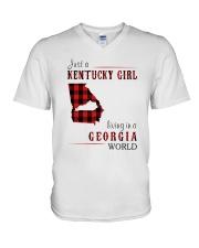 JUST A KENTUCKY GIRL IN A GEORGIA WORLD V-Neck T-Shirt thumbnail