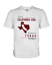 JUST A CALIFORNIA GIRL IN A TEXAS WORLD V-Neck T-Shirt thumbnail
