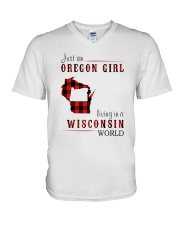 JUST AN OREGON GIRL IN A WISCONSIN WORLD V-Neck T-Shirt thumbnail