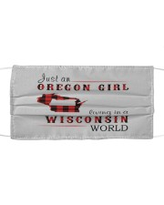 JUST AN OREGON GIRL IN A WISCONSIN WORLD Cloth face mask thumbnail
