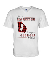 JUST A NEW JERSEY GIRL IN A GEORGIA WORLD V-Neck T-Shirt thumbnail