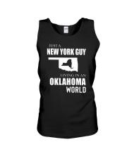 JUST A NEW YORK GUY IN AN OKLAHOMA WORLD Unisex Tank thumbnail