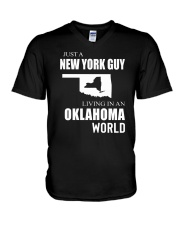 JUST A NEW YORK GUY IN AN OKLAHOMA WORLD V-Neck T-Shirt thumbnail