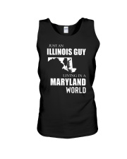 JUST AN ILLINOIS GUY IN A MARYLAND WORLD Unisex Tank thumbnail