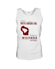 JUST A SOUTH CAROLINA GIRL IN A WISCONSIN WORLD Unisex Tank thumbnail