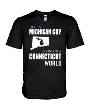 JUST A MICHIGAN GUY IN A CONNECTICUT WORLD V-Neck T-Shirt thumbnail