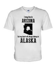 LIVE IN ARIZONA BUT BELONG TO ALASKA V-Neck T-Shirt thumbnail