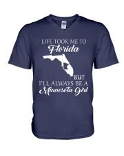 LIFE TOOK ME 2 FLORIDA - MINNESOTA V-Neck T-Shirt thumbnail