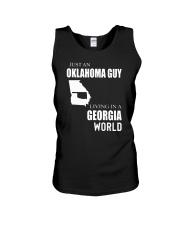JUST AN OKLAHOMA GUY IN A GEORGIA WORLD Unisex Tank thumbnail