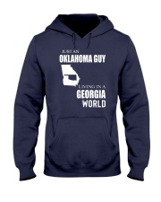 JUST AN OKLAHOMA GUY IN A GEORGIA WORLD Hooded Sweatshirt front
