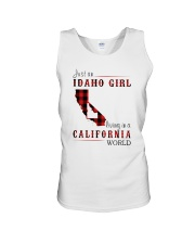 JUST A IDAHO GIRL IN A CALIFORNIA WORLD Unisex Tank thumbnail