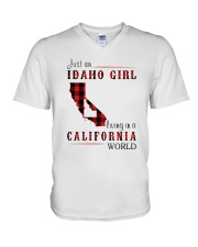 JUST A IDAHO GIRL IN A CALIFORNIA WORLD V-Neck T-Shirt thumbnail