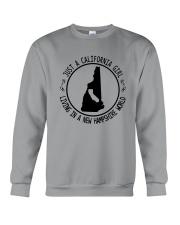 CALIFORNIA GIRL LIVING IN NEW HAMPSHIRE WORLD Crewneck Sweatshirt thumbnail