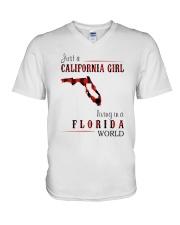 JUST A CALIFORNIA GIRL IN A FLORIDA WORLD V-Neck T-Shirt thumbnail