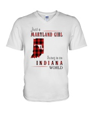 JUST A MARYLAND GIRL IN AN INDIANA WORLD V-Neck T-Shirt thumbnail