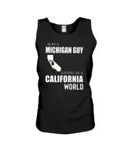 JUST A MICHIGAN GUY IN A CALIFORNIA WORLD Unisex Tank thumbnail