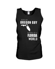 JUST AN OREGON GUY IN A FLORIDA WORLD Unisex Tank thumbnail