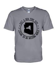NEW YORK GIRL LIVING IN ARIZONA WORLD V-Neck T-Shirt thumbnail