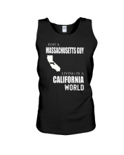 JUST A MASSACHUSETTS GUY IN A CALIFORNIA WORLD Unisex Tank thumbnail