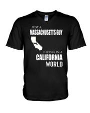 JUST A MASSACHUSETTS GUY IN A CALIFORNIA WORLD V-Neck T-Shirt thumbnail