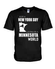 JUST A NEW YORK GUY IN A MINNESOTA WORLD V-Neck T-Shirt thumbnail
