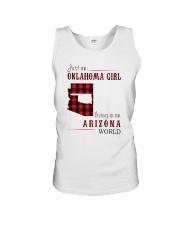 JUST AN OKLAHOMA GIRL IN AN ARIZONA WORLD Unisex Tank thumbnail