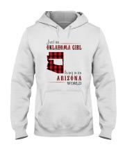 JUST AN OKLAHOMA GIRL IN AN ARIZONA WORLD Hooded Sweatshirt front