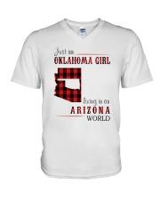 JUST AN OKLAHOMA GIRL IN AN ARIZONA WORLD V-Neck T-Shirt thumbnail