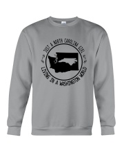 NORTH CAROLINA GIRL LIVING IN WASHINGTON WORLD Crewneck Sweatshirt thumbnail
