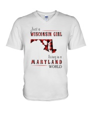JUST A WISCONSIN GIRL IN A MARYLAND WORLD V-Neck T-Shirt thumbnail