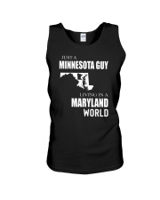 JUST A MINNESOTA GUY IN A MARYLAND WORLD Unisex Tank thumbnail