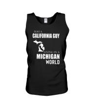 JUST A CALIFORNIA GUY IN A MICHIGAN WORLD Unisex Tank thumbnail