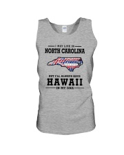 LIVE IN NORTH CAROLINA BUT HAWAII IN MY DNA Unisex Tank thumbnail
