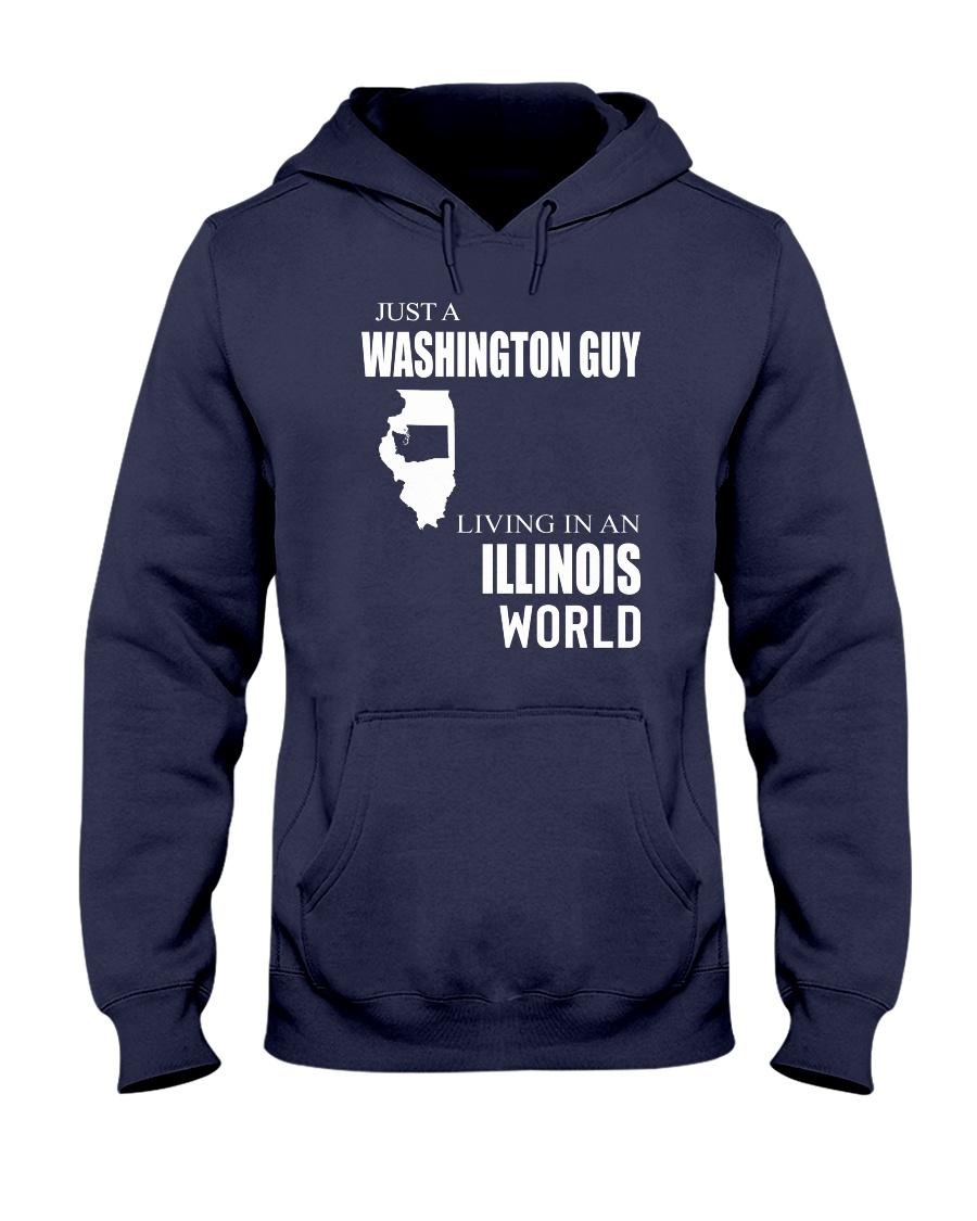 JUST A WASHINGTON GUY IN AN ILLINOIS WORLD Hooded Sweatshirt