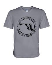 MISSISSIPPI GIRL LIVING IN MARYLAND WORLD V-Neck T-Shirt thumbnail